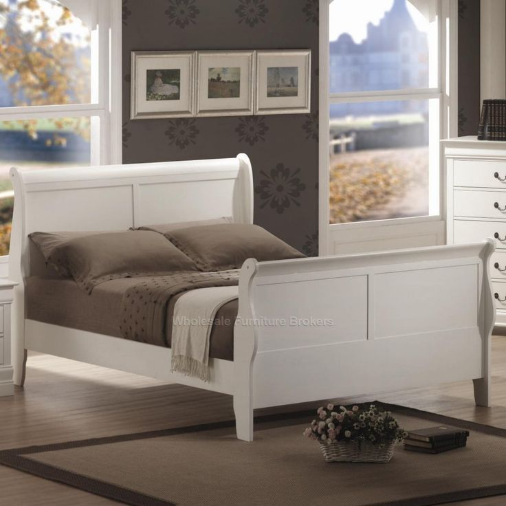 Saint Laurent White Twin Sleigh Bed A GoWFBca