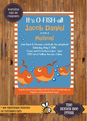 It's o-FISH-al Adoption Invitation or Announcement - Adoption Party invitation by TheHoneyBeePress
