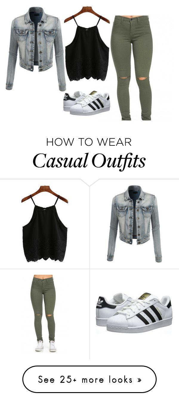 """Casual daytime outfit"" by theriptide on Polyvore featuring LE3NO, adidas Originals, women's clothing, women's fashion, women, female, woman, misses and juniors"