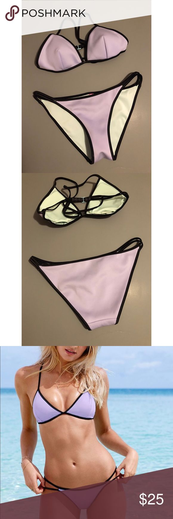 Victoria's Secret Purple Triangle Bikini Victoria's Secret Triangle Bikini with matching purple bottom. Size M (top and bottom)  *Been worn once Victoria's Secret Swim Bikinis