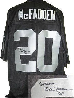 Darren McFadden signed Oakland Raiders Black Reebok EQT Jersey- McFadden Hologram . $275.31. Darren McFadden was drafted fourth overall by the Oakland Raiders in the 2008 NFL Draft. He signed a contract worth $60 million with the Raiders, including $26 million in guaranteed money. Darren McFadden has hand autographed this Oakland Raiders Black Reebok EQT Jersey. McFadden Hologram and Certificate of Authenticity from Athlon Sports.