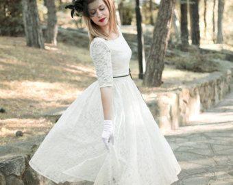Ivory 50s Wedding Dress Full Skirt Original 50s by SuzannaMDesigns