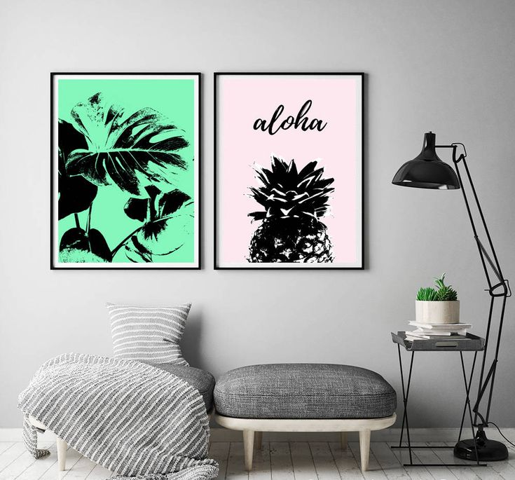 Charmant Tropical Wall Art, Monstera Print, Pineapple Poster, Tropical Wall Decor,  Modern Art, Green Pink Printable Art, Contemporary, Set Of Two