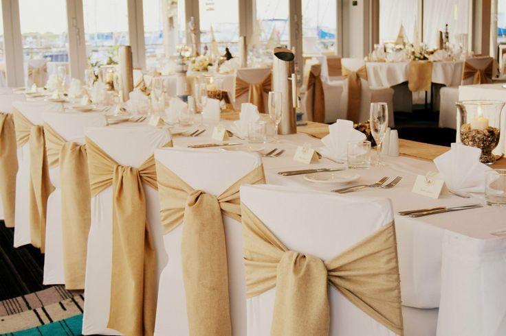 Rustic Beach - Hessian Look Sashes Bridal Table