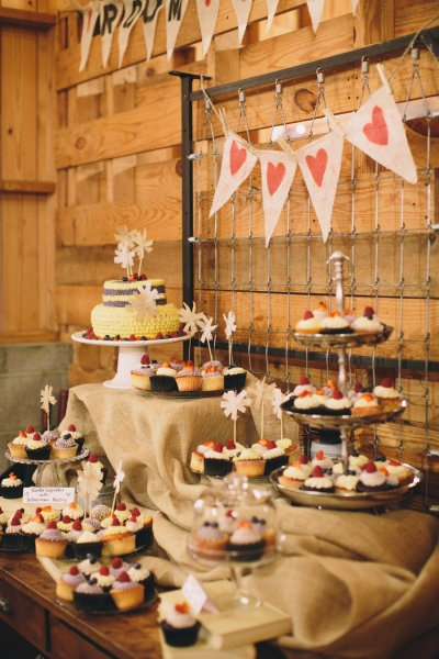 Rainy Asheville Wedding from Olivia Griffin Photography   Style Me Pretty   Gallery   Adorable cupcake display!