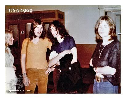 Pat Bonham with husband John, Jimmy Page and John Paul Jones, 1969 in the U.S.