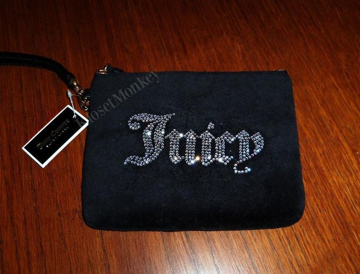 JUICY COUTURE VELVET BLACK RHINESTONE COSMETIC CASE PURSE WRISTLET BAG NWT $$$ #JuicyCouture #Wristlet