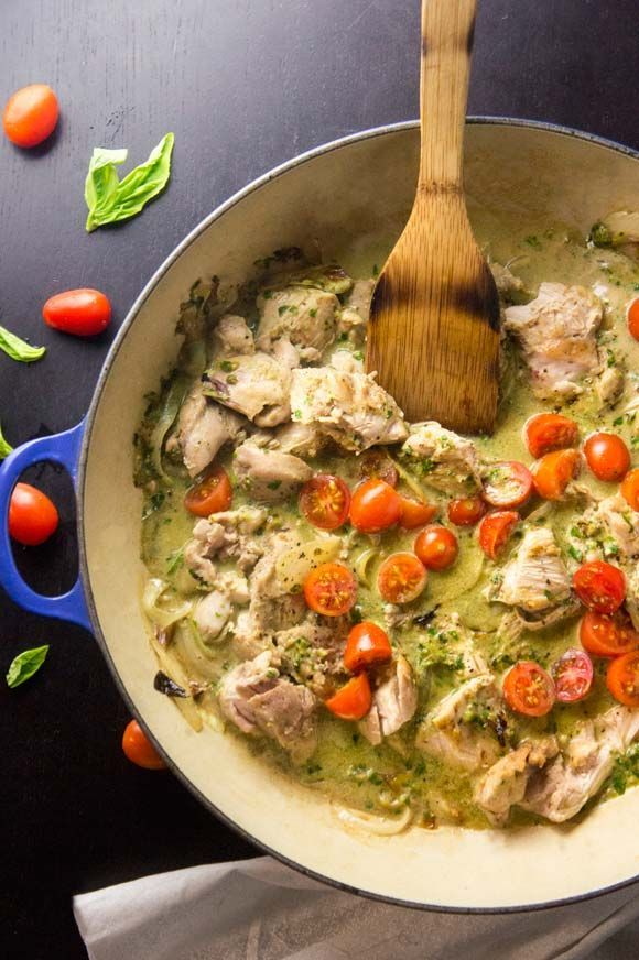 Paleo Creamy Basil & Tomato Chicken by Foraged Dish.