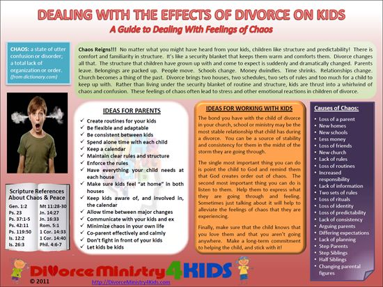 Dealing with feelings of chaos in children of divorce.