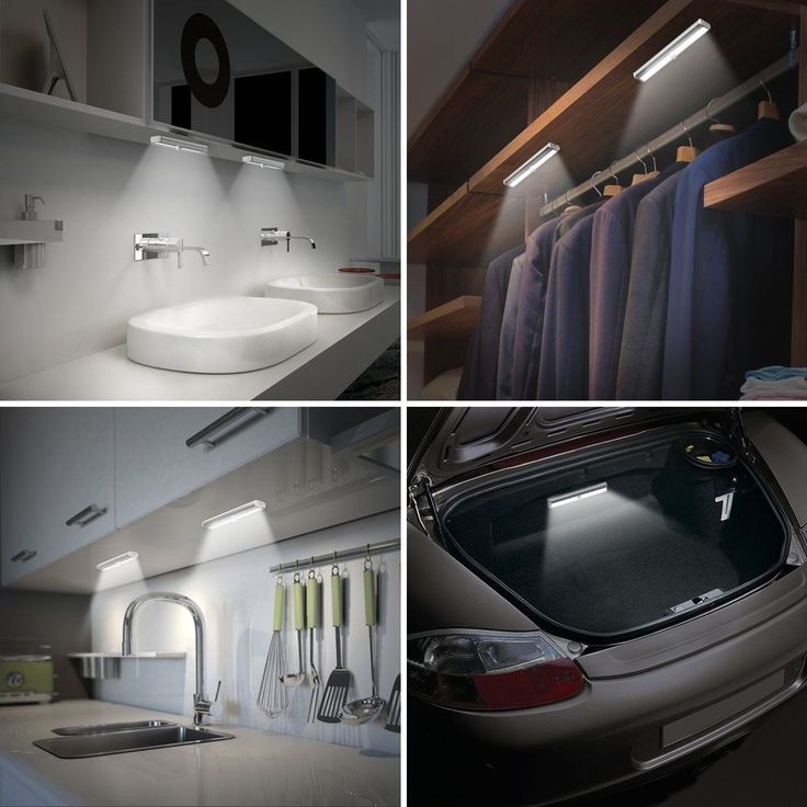 10 LED Motion Sensor Night Light DIY Stick-on Closet Cabinet Lights Battery Oper #Unbranded