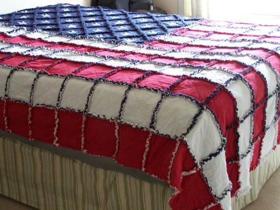 "American Flag 84""X104"" Rag Quilt 2layer,Flannel top,flannel bottom on Etsy, $450.00"
