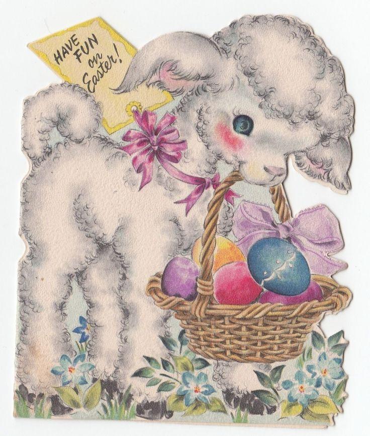 Vintage Greeting Card Easter Egg Basket Cute Lamb Die Cut Hallmark 1940s J876