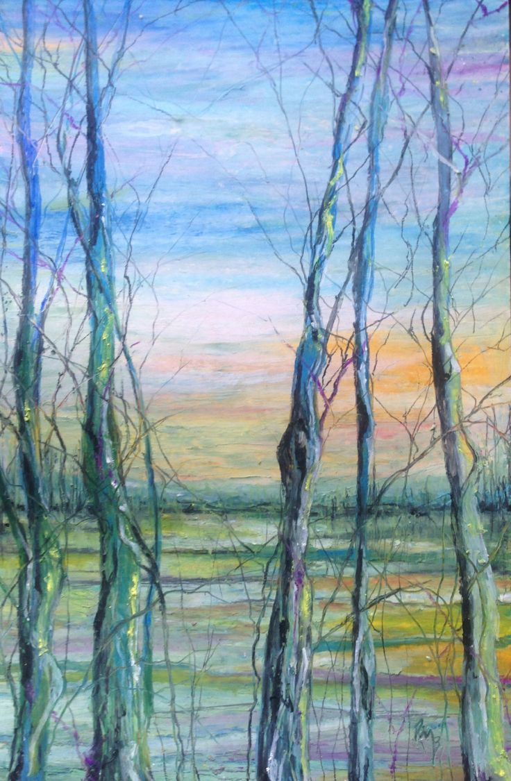 Rainbow landscape original oil pastel drawing - Sunset Trees Oil Pastel