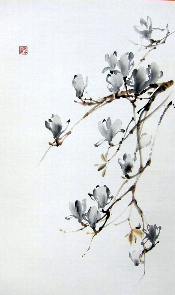 Magnolia del japonés de la pintura Sumi-e de por Suibokuga en Etsy
