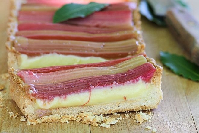 Rhubarb and Bay Custard Tart
