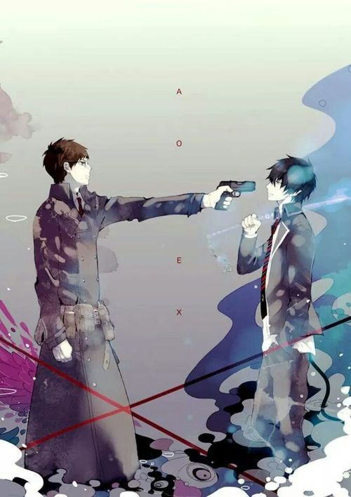 I feel like there's a ton of power in this picture. One maybe a demon and the other not but there still brothers. You Yukio can't just kill Rin without without destroying himself and regretting it.