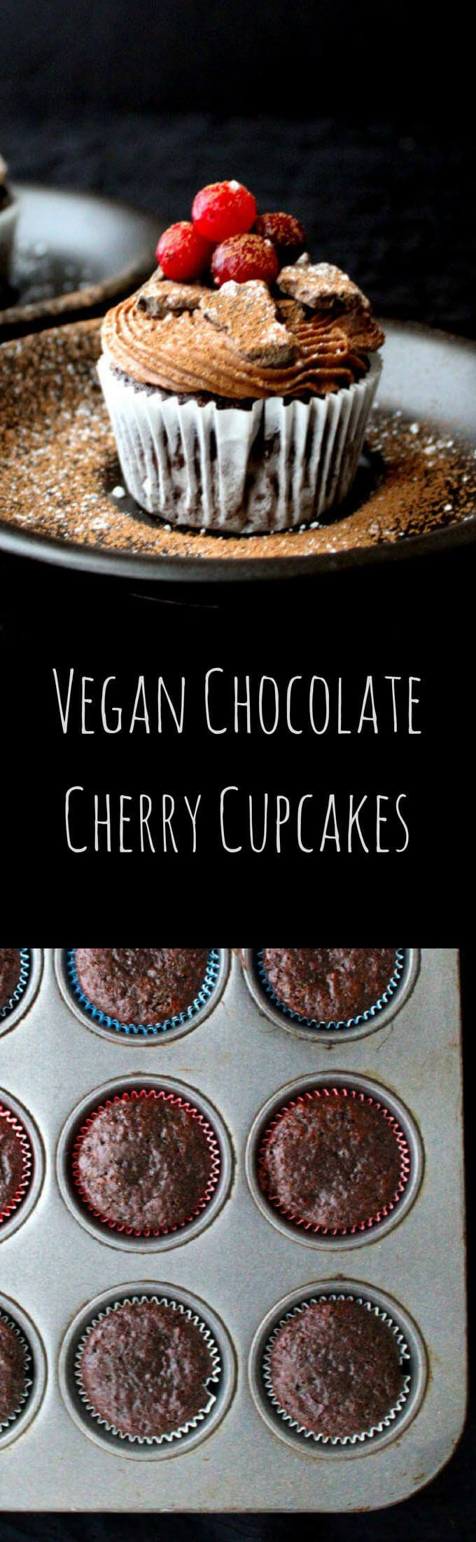 My Vegan Chocolate Cherry Cupcakes are the perfect dessert to bake up for your sweetie on Valentine's Day. The cupcakes are moist and delicious with bits of cherry inside, and they have no added fat. The frosting is soft, fluffy and luscious and it'll put a smile on any face. A vegan, soy-free and nut-free recipe.