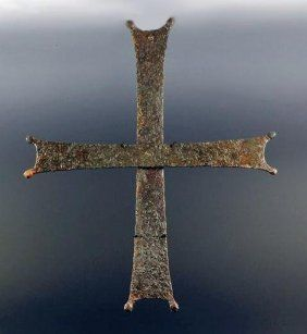 A Byzantine Iron Crusader's Cross~    Byzantine, ca. 11th century AD. Large and very fine iron cross of the type carried during the Crusades by European knights.
