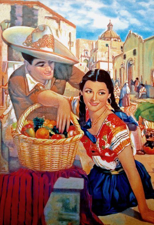 El Mercado (1940) - Mexican Calendar Art