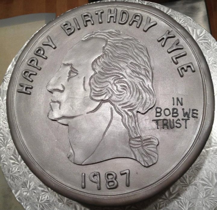 Silver quarter cake for a 25th birthday celebration (in bart we trust)