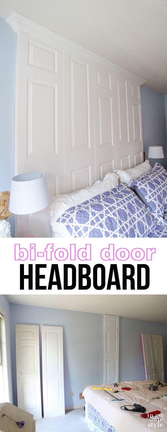 Repurposing idea for decorating a bedroom - use thrift store doors to make a headboard for your bed - a really grand one.  In My Own Style