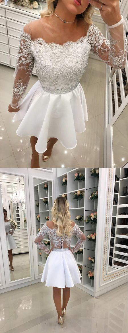 New Arrival A-Line Round Neck Long Sleeves White Pearls Short Homecoming Dress