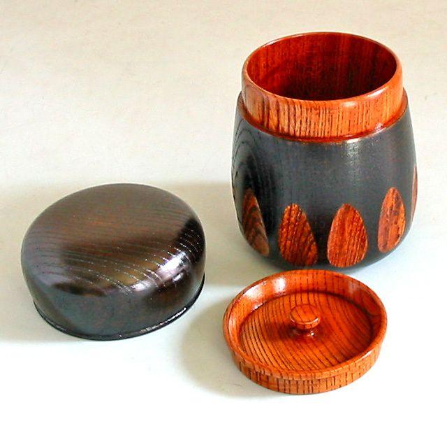 茶筒 欅 漆切子 黒 木製 漆塗り 漆器の井助