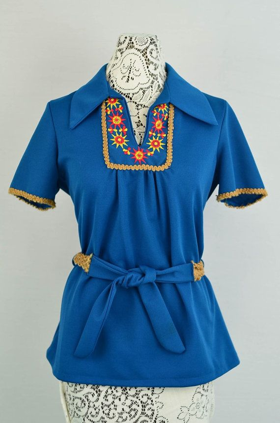 1960s  1970s vintage top  embroidered accents by 86CharlotteStreet, $35.00
