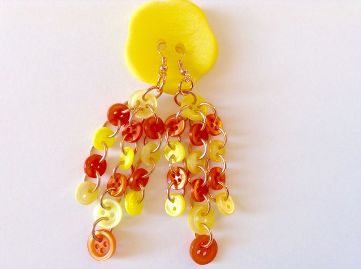 Earrings with yellow and orange buttons with rose gold!!!!