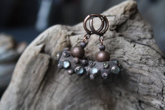 Earrings made of glass and copper. DragonGlass от LikeAGlassShop