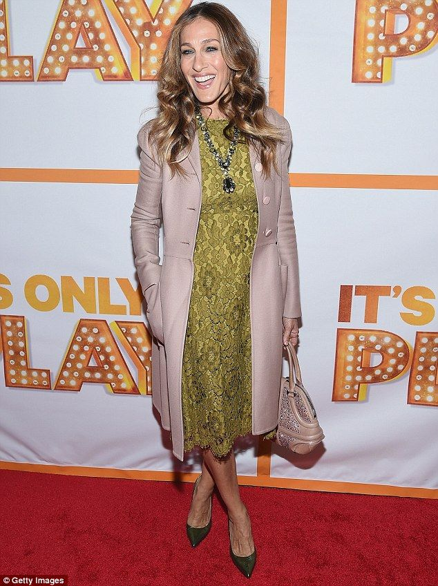 So chic:Sarah Jessica Parker looking glamorous in a gold lace dress as she walked the red...