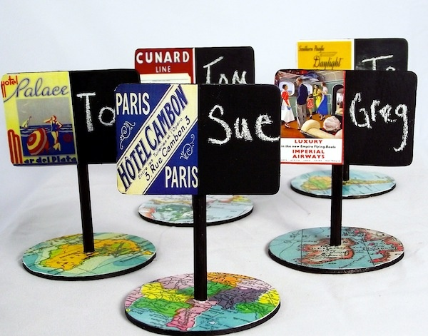 Pretty chalkboard placecards - with a free vintage map printable!: Chalkboards, Mod Podge, Place Cards, Places, Craft Ideas, Podge Rocks, Card Tutorials, Chalkboard Place, Placecards