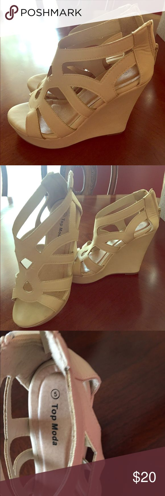 Top Moda wedges.  Nude.  Ladies size 5 Nude wedges.  Size 5 ladies Shoes Wedges