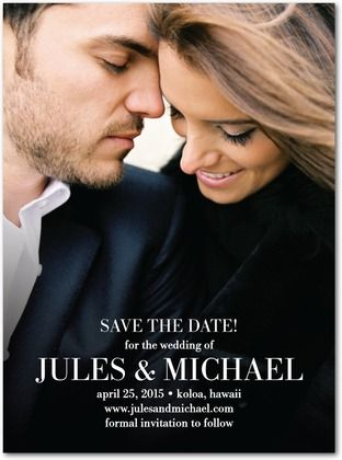 Signature White Photo Save the Date Cards Enchanted Ending - Front : Black