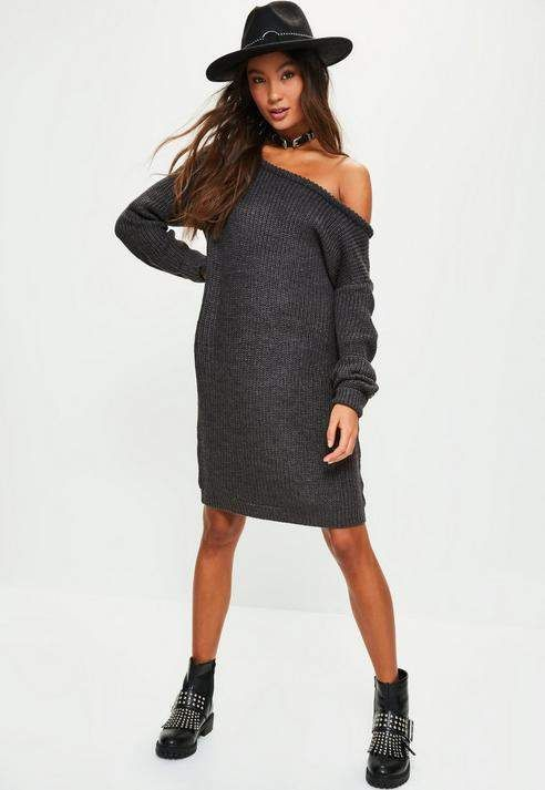 Charcoal Grey Off Shoulder Knitted Jumper Dress e4c29960c