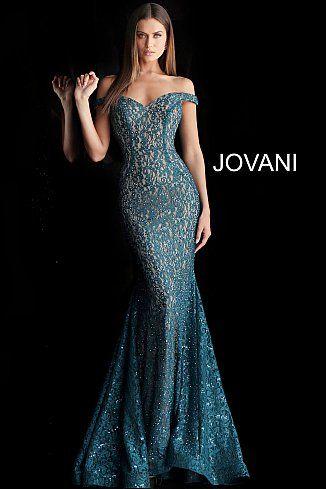 5f181da357 jovani Peacock Embellished Lace Off the Shoulder Prom Dress 64521 Prom 2019