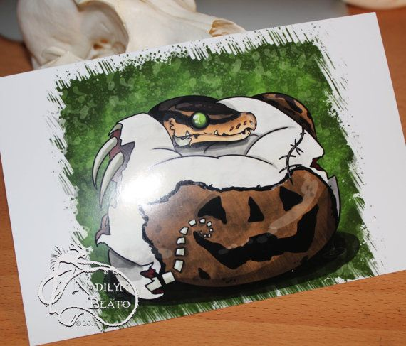 Zombie Pied Ball Python Daily Creature Mini by NadilynBeatosArt, $10.00