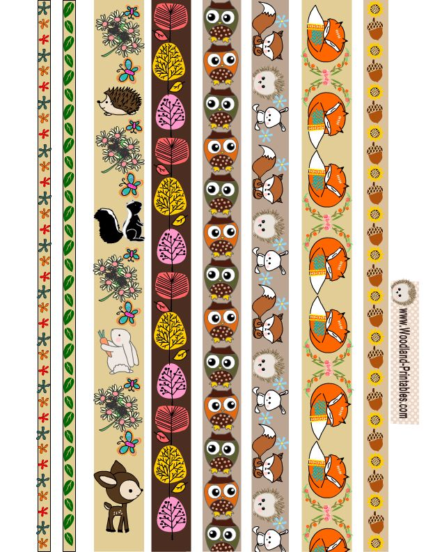 Free Printable Woodland Creatures Washi Tapes