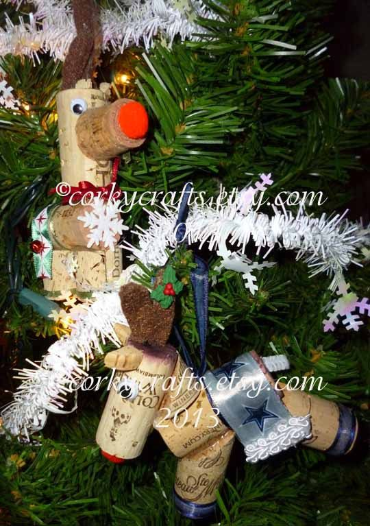 Christmas in July Sale  Dallas Cowboys reindeer by Corkycrafts