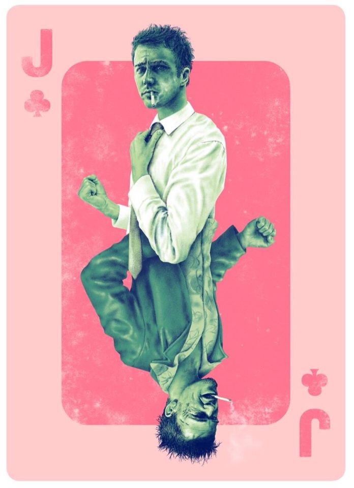 "Inspired by Fight Club, ""Jack of Clubs"", by Adam Rabalais.  Variant with card number available here http://hcgart.com/products/jack-of-clubs-changeover-variant-by-adam-rabalais Also available without card number here http://hcgart.com/products/jack-of-clubs-changeover-by-adam-rabalais"