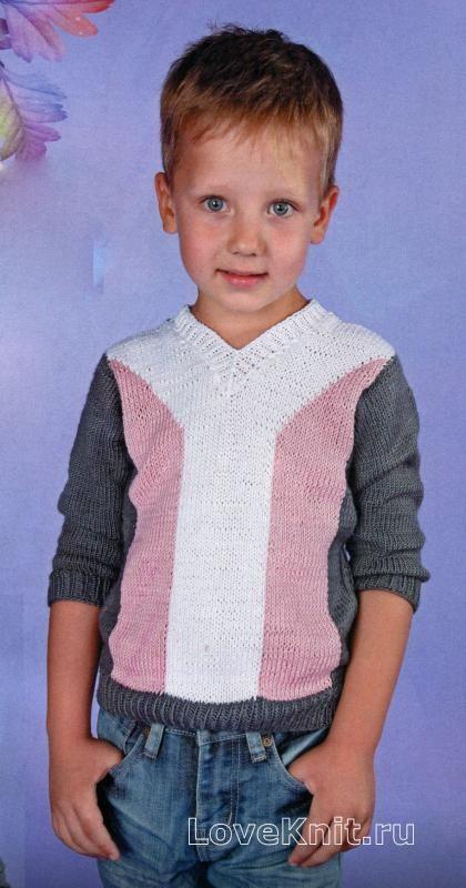 трехцветный джемпер для мальчика фото к описанию