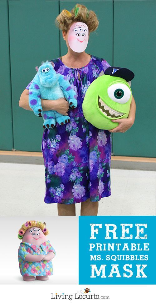 Monsters University Ms. Squibbles Halloween Costume. A super easy last minute costume for moms! Kids laugh so hard at this DIY handmade costume. - Free Printable Halloween Mask by @livinglocurto.