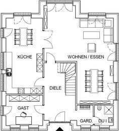Das Erdgeschoss dieser Stadtvilla als Variante bei optionalen Kellergeschoss