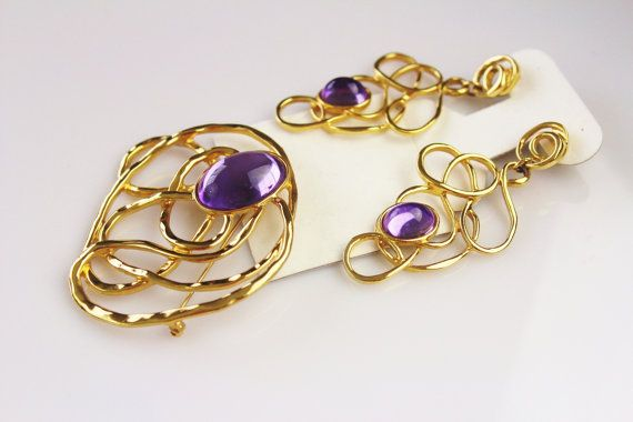 Avon Set Brooch Earrings Book Piece Golden Web Faux by Jewelrin #ВинтажныеУкрашения_вналичии #VintageJewelryAvon