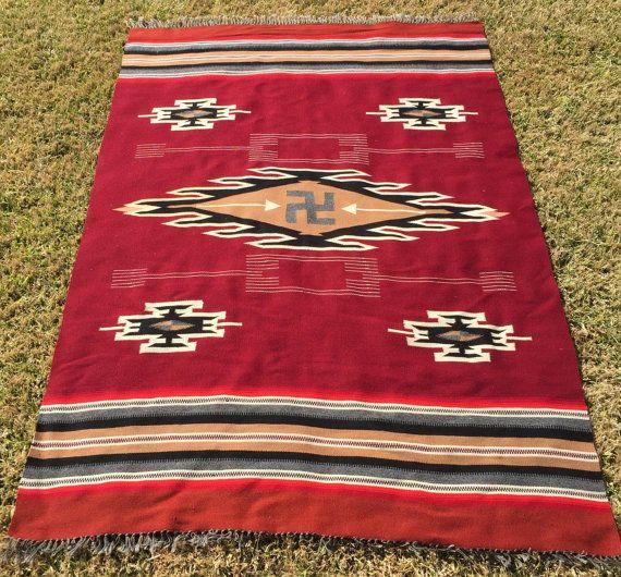 Circa1920 S Whirling Log Chimayo Weaving 52 X 81 5 Blanket Antique Rug Textile