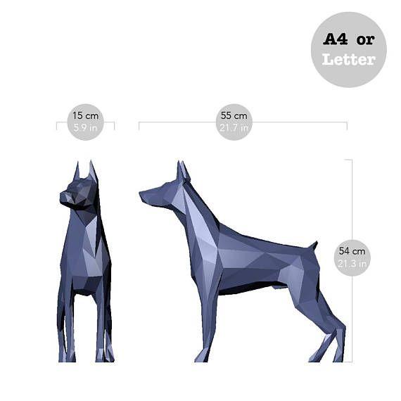 Printable Diy Template Pdf Dog Dobermann Low Poly Paper Model
