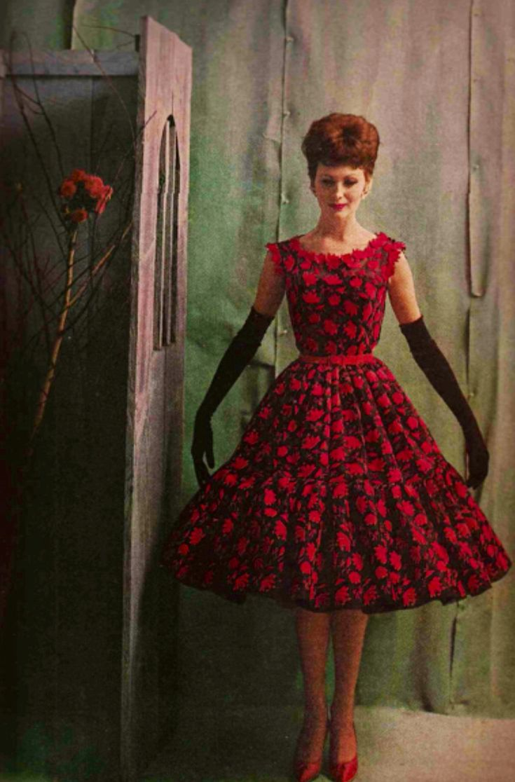 Black gloves for gown - Harper S Bazaar 1960 Red Rose Dress Full Skirt Cocktail Party Floral Black Gloves Shoes Hair Color