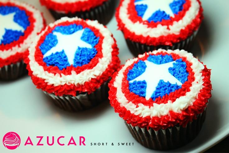 Captain America Cupcakes for Jonah's Birthday