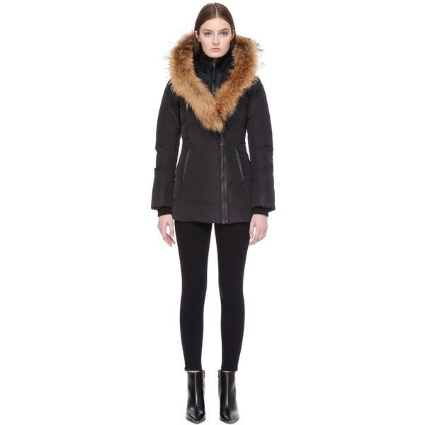 Mackage Mackage | Adali Fitted Winter Down Coat ($750) via Polyvore featuring outerwear, coats, water resistant coat, feather coat, toggle coats, real leather coats and hooded toggle coat