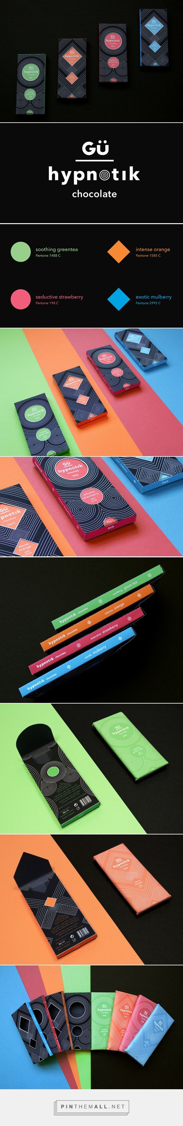 """Art direction, branding and packaging for Hypnotik Chocolate on Behance by Huan Nguyen, Long Beach CA curated by Packaging Diva PD. Conceptual chocolate brand based on idea of using optical illusion, bold graphic and vibrant colors to """"hypnotize"""" and attract a consumer's attention."""